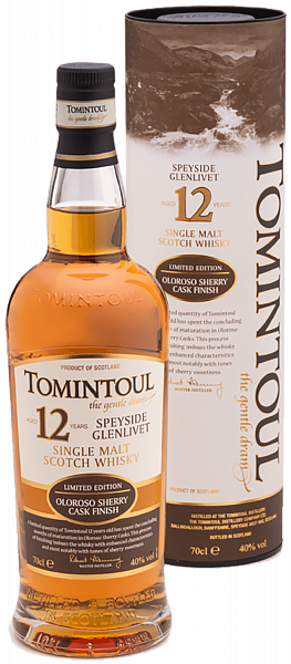 Tomintoul Speyside Glenlivet Oloroso Sherry Cask Finish Single Malt Scotch Whisky 12 YO (gift box), 0.7л